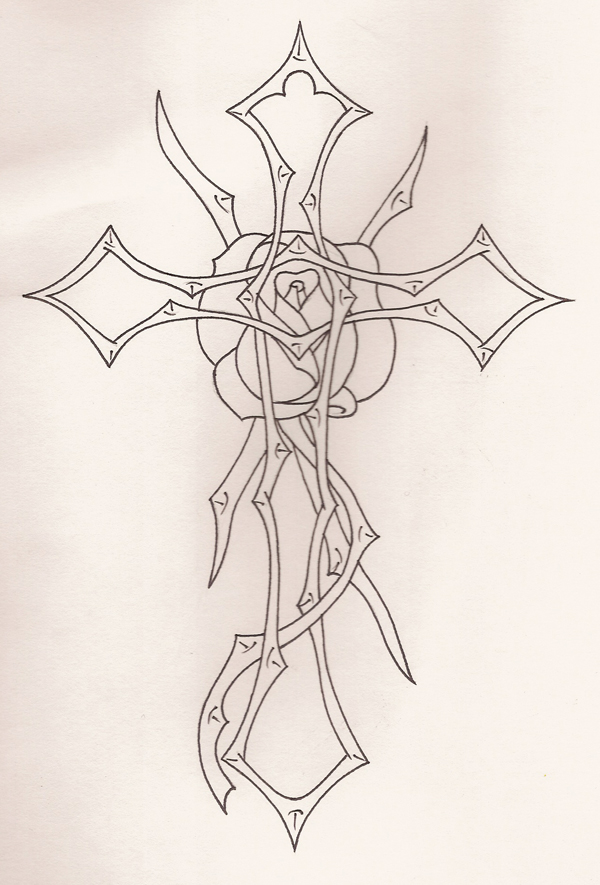 Tribal Cross And Rose Vines Outline